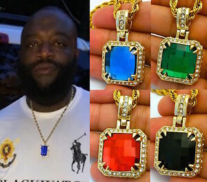 RED RUBY / BLUE SQUARE HIP HOP LAB DIAMOND PENDANT CHAIN NECKLACE SET