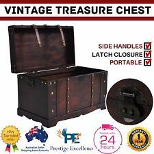 Wooden Treasure Chest Vintage Storage Case Organiser Wood Antique Style Table AU