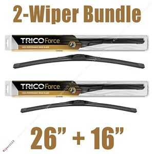 """2-Wipers: 26"""" + 16"""" Trico Force All-Season Beam Wiper Blades - 25-260 25-160"""