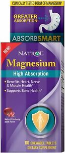 Chewable High Absorption Magnesium by Natrol, 60 tablet 250 mg