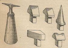 A4264 Incudine bicornia e suoi arnesi - Incisione - Stampa Antica del 1887