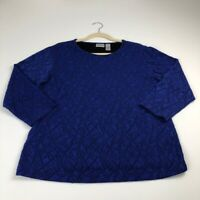 Chico's Women's ¾ Sleeve Blouse Top 3 Blue Crewneck Stretchy Texture Casual