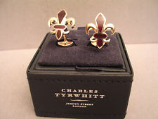 SET OF FABULOUS GENUINE CHARLES TYRWHITT BURGUNDY ENAMEL FLEUR DE LYS CUFFLINKS