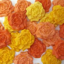 12 Orange Yellow Dark Mix Sugar Roses edible sugarpaste flowers cake decorations