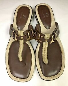 COLE HAAN AirNike Brown Leather and Jute T Strap Thong Sandals 8.5