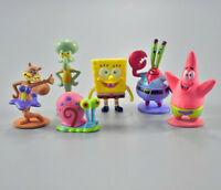 6pcs/Set 8CM Spongebob Anime Action Figure statue In PVC collection doll toy new