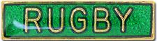 Rugby Bar Pin Badge in Green Enamel