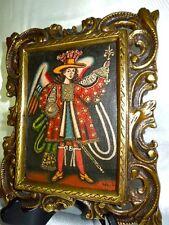 Antique Archangel Gabriel Cuzco School Oil Painting On Linen Signed H.Munoz