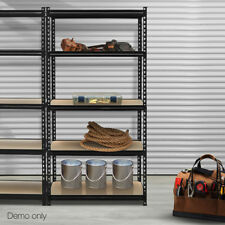 5-Tier Industrial Shelving Unit Organizer Storage Rack 200kg Per Shelf Black