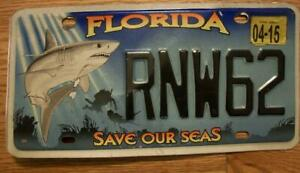 SINGLE FLORIDA LICENSE PLATE - 2015 - RNW62 - SAVE OUR SEAS - SHARK