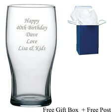 Personalised 40th, 50th 60th  Birthday Gifts Male Men  Boys Engraved Pint Glass