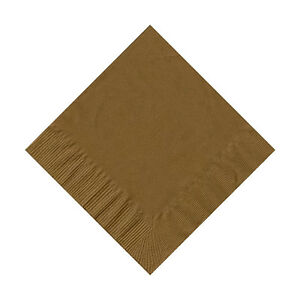 50 Plain Solid Colors Beverage Cocktail Napkins Paper - Gold