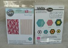 "Sizzix Embossing Folder ""Botanicals & Beaded Ribbons "" & Triplit ""Hexagon"" ~ New"