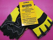 Worksafe Fingerless Safety Work Gloves NEW Adjustable CARPENTER BUILDERS LARGE