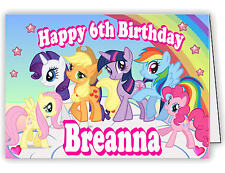 Personalised Birthday Card with My Little Pony Friendship Magic Print - any name