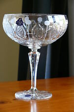 MEDIUM SIZE 24% LEAD CRYSTAL PEDESTAL BOWL / BISCUITS VASE, HAND CUT