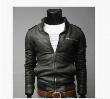 Men Punk Leather Jacket Biker Slim fit Motorcycle Nightclub Retro Outdoor Coats