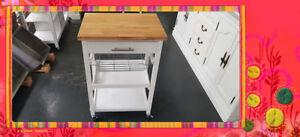 Kitchen Cart Kitchen Trolley White Cabinet Solid Wood Bench Top SKT812