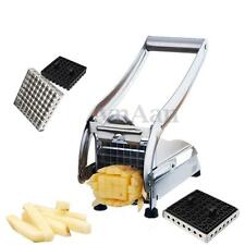 Stainless Potato Chipper French Fries Slicer Chip Cutter Maker Chopper 2 Blades