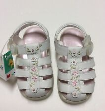 Stride Rite Munchkin 'Cecilia' White Leather Sandals New In Box 6 Months