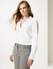 Size 18 M&S No Peep Cotton Stretch Long Sleeve White Work Shirt