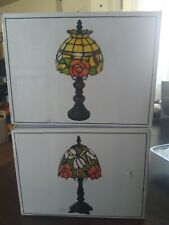 2 Flowers Tiffany Style Stained Glass Small Table Desk Lamp Night Light 12.5""