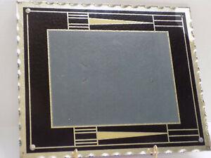 ART DECO Geometric Black Silver Gold MIRROR FRAME SCALLOP EDGE 11x13 1920s AUTH