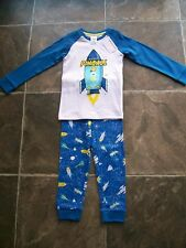BNWT Boy's Blue, White & Yellow Rockets Cotton Knit Pyjamas Size 3