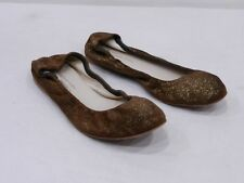 ANNIEL Womens 37 6.5 Gold Brown Suede Ballet Flats Shoes Made in Italy