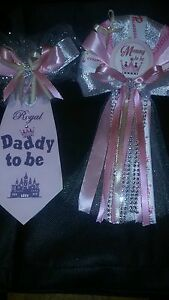 Mommy and Daddy Baby shower corsage and tie set silver and pink Princess crown