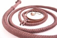 Bull whip 8 Feet Long, Heavy Duty 12 Plait Nylon Weaving Dark Brown Real Whip