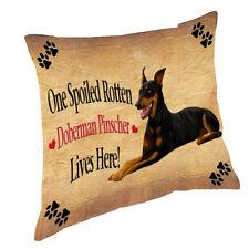 Doberman Pinscher Spoiled Rotten Dog Throw Pillow 14x14
