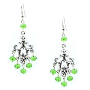 Chandelier Silver Drop Green Crystal Filigree Earring