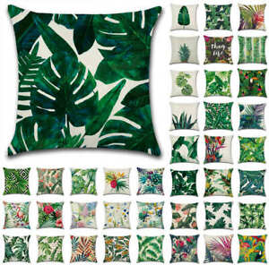 Tropical Plant Green Leaves Garden Cushion Cover Linen Throw Pillow Case Flower