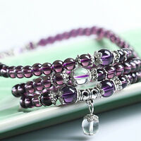 New 6mm Amethyst Mala Bracelet Necklace Buddhist meditation 108 Prayer Beads