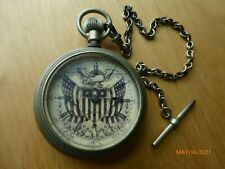 PATRIOTIC eagle FLAG Antique WALTHAM Pocket Watch Co 18 made in USA Runs Strong!