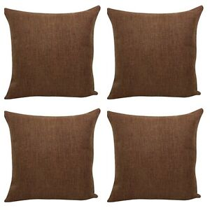 Set of 4 Filled Cushions - X-Thick Quality Jute Hessian Material Penny Brown 18""