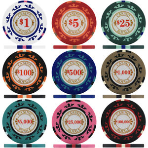 Crown Casino Royale 14g Poker Chips - Sample Pack Containing 1 Each of 9 Values