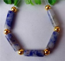 5Pcs Natural Blue Sodalite Height Holes Cylindrical Bead 13x4mm HP37801