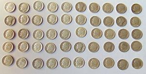 50 Silver U,S. Dimes -1941-64 - 90% Silver - Circulated-Ungraded