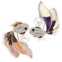 Enamel Goldfish Brooch Pin Women Rhinestone Crystal Animal Brooch Dress HF
