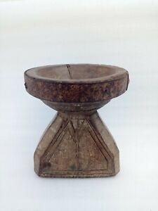 Antique Wooden India Farmer Farming Seeds Pot Bijani Flower Vase Agricultural