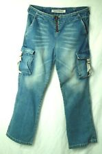 Cargo Pockets LOW Faded Adjustable Waist EXPRESS Exposed Zipper Jeans! 10