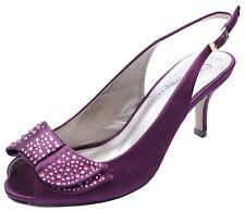 Señoras Púrpura Diamante Tacón Bajo Peep-Toe Zapatos De Novia Dama De Honor Boda UK 3-8