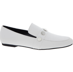 Calvin Klein White Grained Leather Studded Loafers UK 3 New in Box