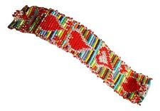 "Glass Magnetic Clasp 7.5"" Jewel #Br168 Multicolored Heart Bracelet Crystal Czech"