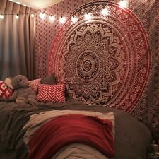 Indian Pink Ombre Cotton Tapestry Wall Hanging Mandala Bedspread Throw Cover