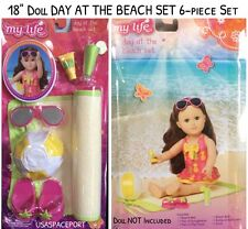"6pc 18"" Doll DAY AT THE BEACH Mat Sunglasses sandles for My Life American Girl"