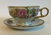 Vintage Tea Cup And Saucer Set Floral Pattern Made In Japan Ew 8407