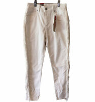 LEVIS 721 Womens White Skinny Ankle Jeans Size: 28 Waist Fringe Rodeo High Rise